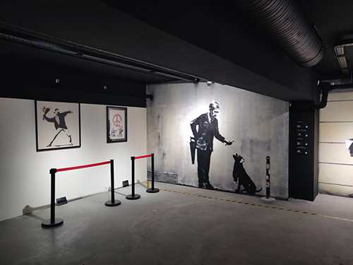 exhibition of the Steet Artist Banksy in Paris in the 9th district