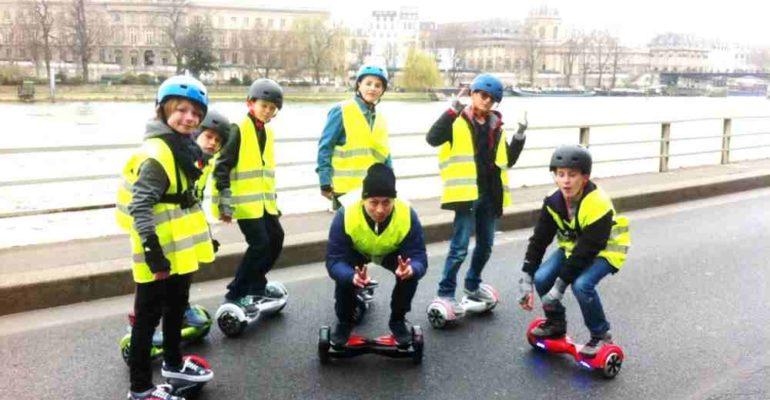hoverboard, balade paris avec des enfants