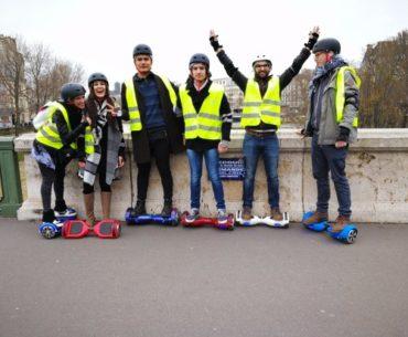 unusual ride in Paris on a Hoverboard