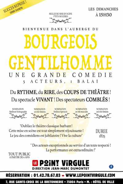 The Bourgeois Gentillhomme at the Point Virgule theatre in Paris