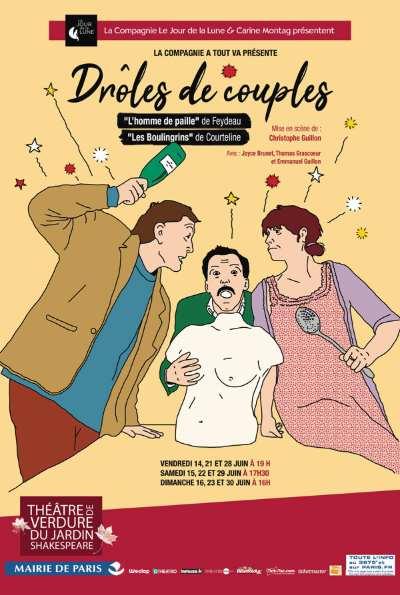 Drôles de couples spectacle en plein air au théâtre de Verdure