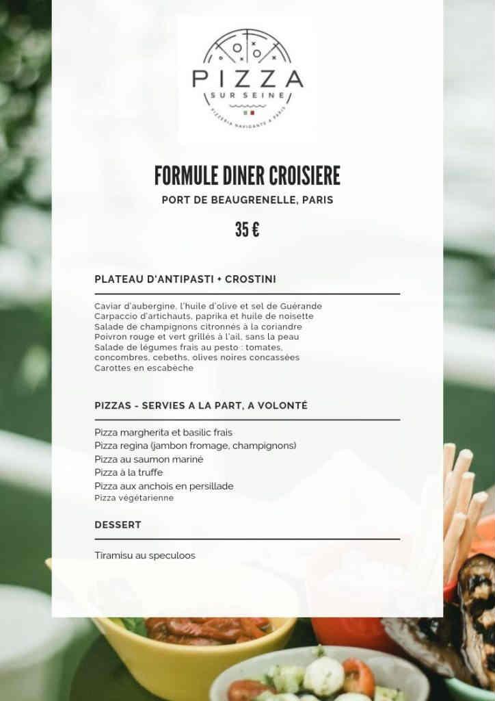 menu italien de la croisière Pizza sur la Seine