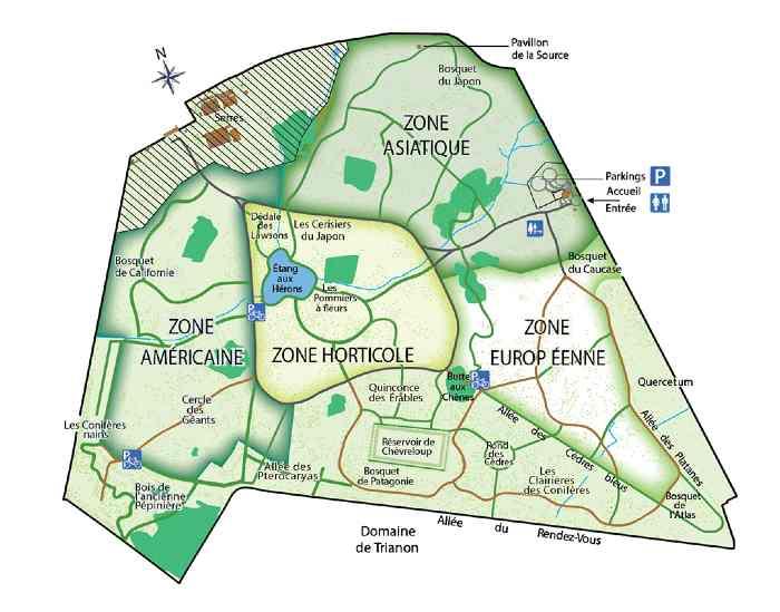 plan de l'arboretum de Versailles Chevreloup