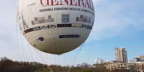 Hot air balloon flight over Paris