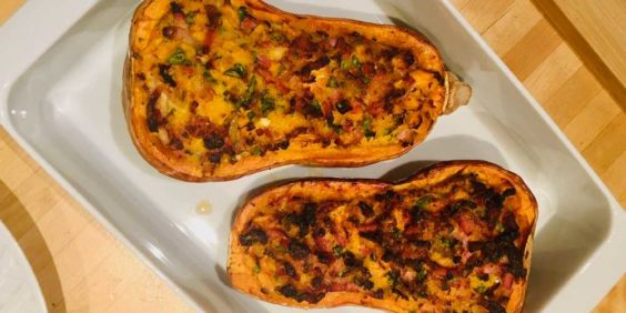 Courge butternut farcie au four