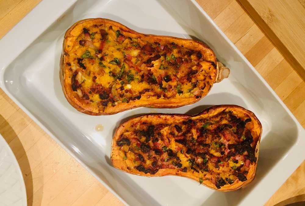 recette de butternut farcie aux lardons et oignons